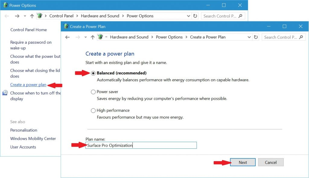 Creating a new Surface Pro Power Plan