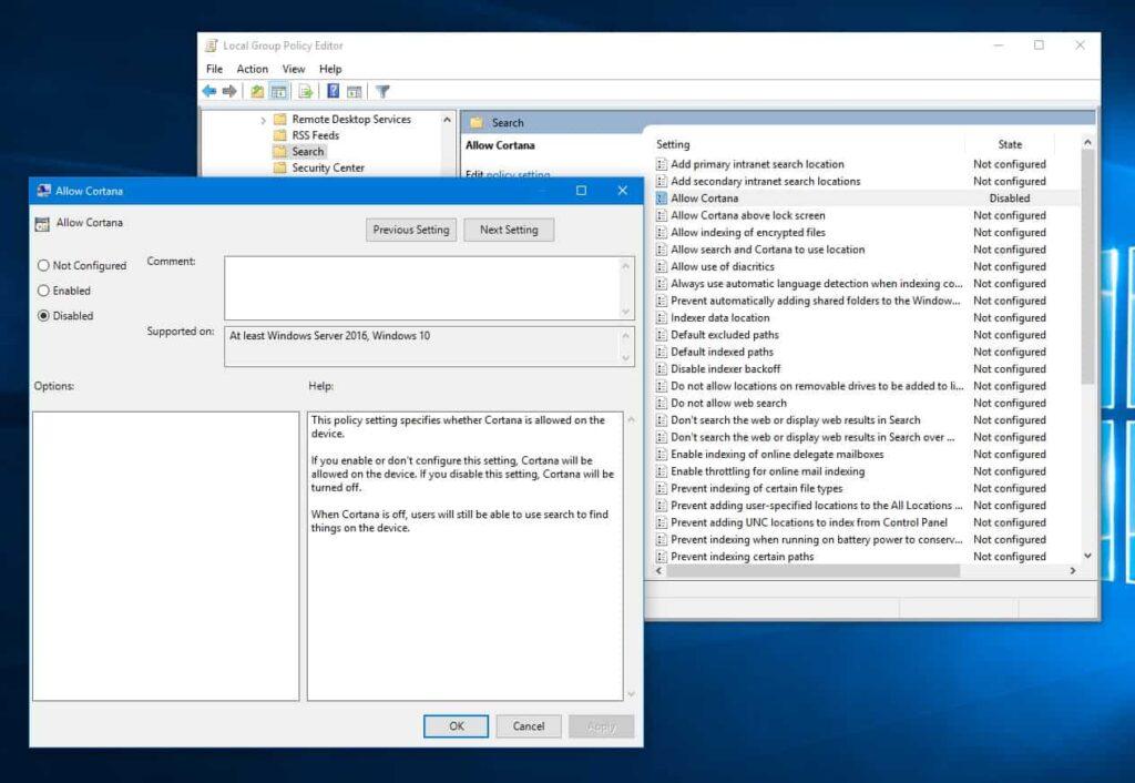 Disable Cortana on Windows 10 anniversary update via gpedit.msc