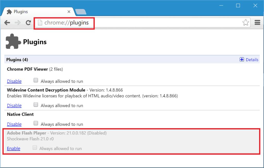 Disable Google Chrome Adobe Flash Player Plugin
