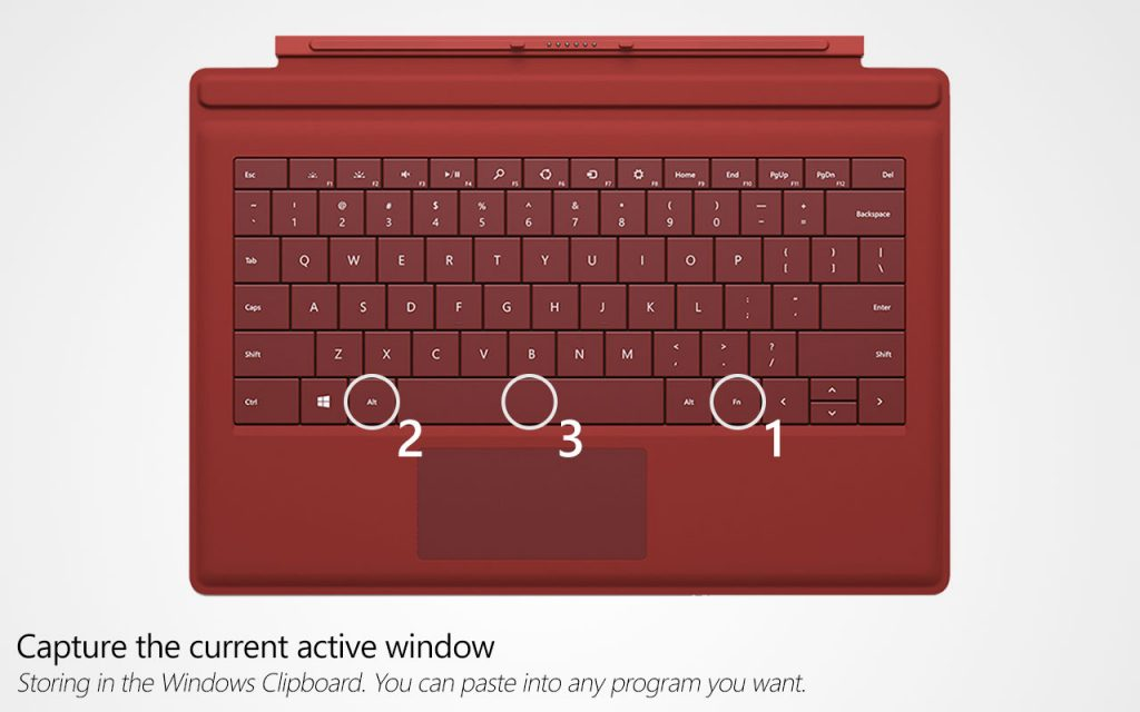 Taking a screenshot using Surface Type Cover - Method 3
