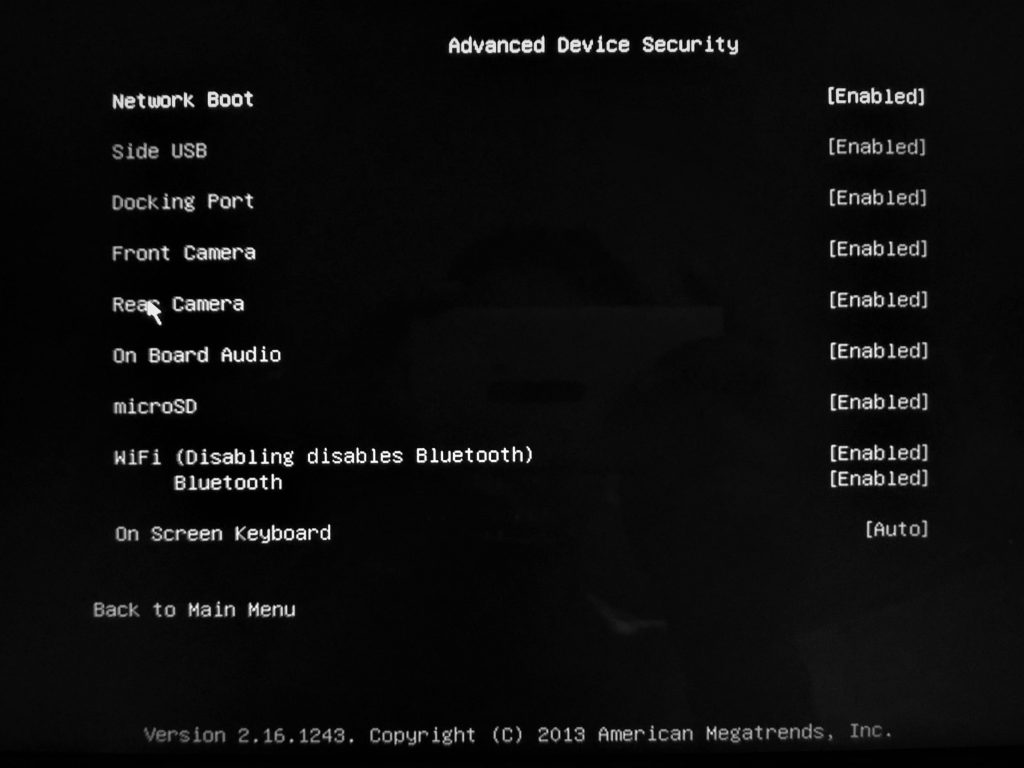 Surface Pro 3 UEFI Settings - Advanced Device Security