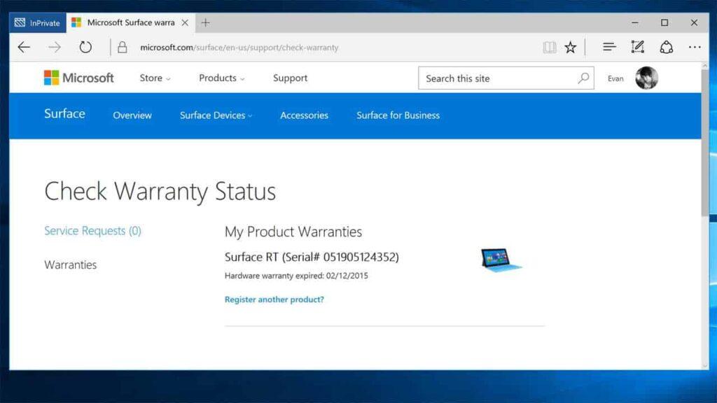 Surface RT Warranty Status