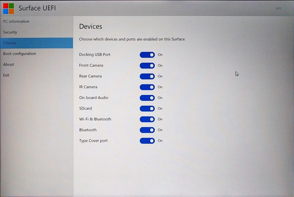 Surface Pro 4 - UEFI - Devices