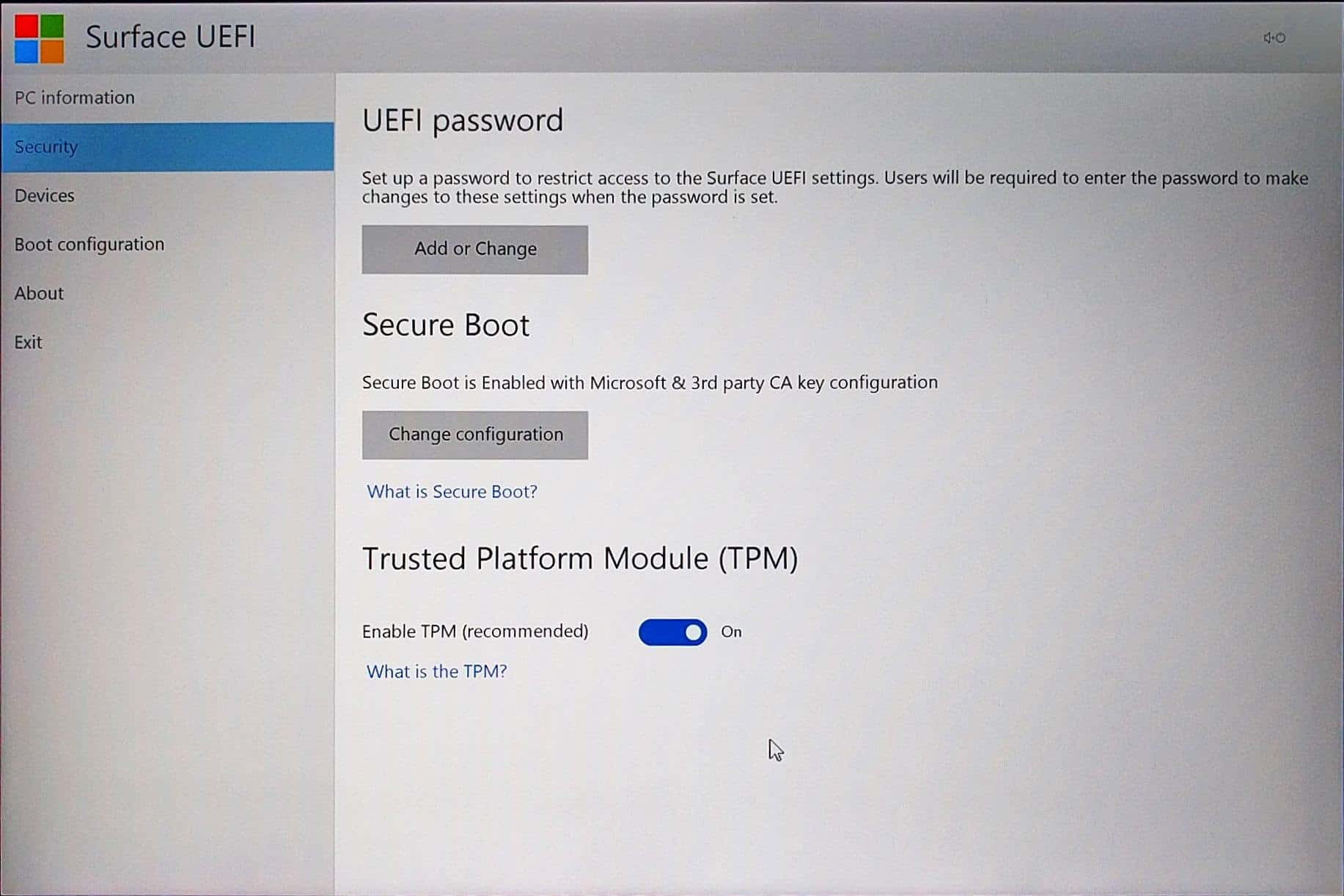 Surface Pro 4 - UEFI - Security