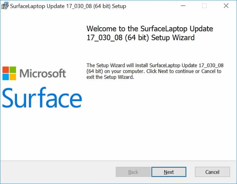 Surface Laptop Drivers and Firmware Installation Screen