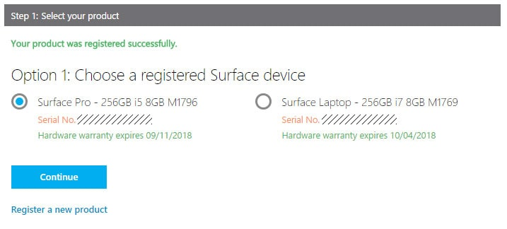 Select your registered Surface Pro (2017)