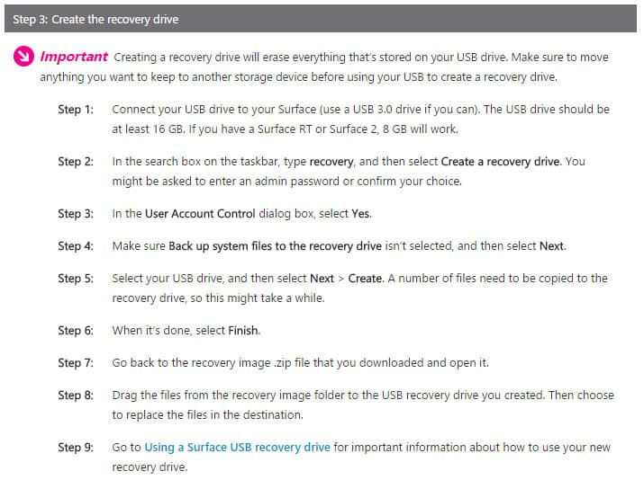 How to create recovery drive to reset your Surface Pro (2017)