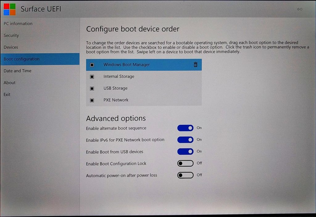 Surface Pro (2017) UEFI > Boot Configuration