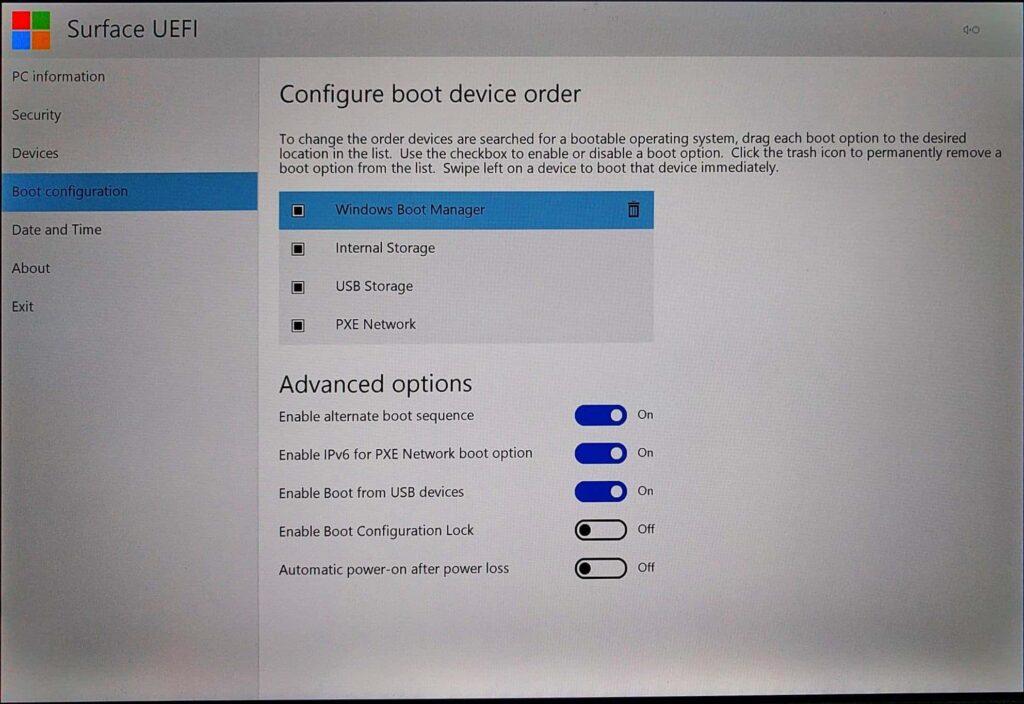 Surface Pro (2017) UEFI > Boot Configuration