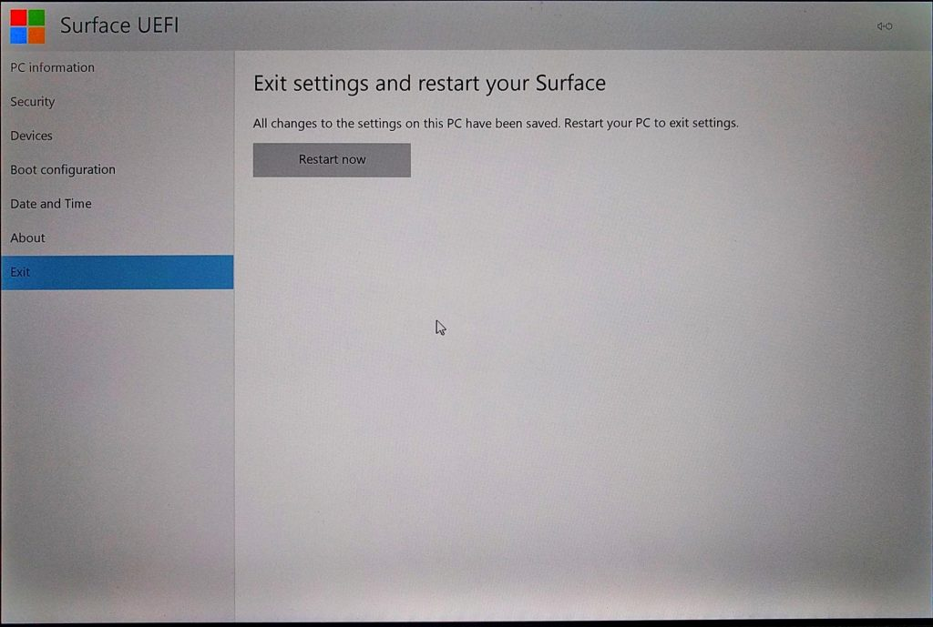 Surface Pro (2017) UEFI Exit Page