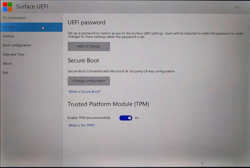 Surface Pro (2017) UEFI > Security