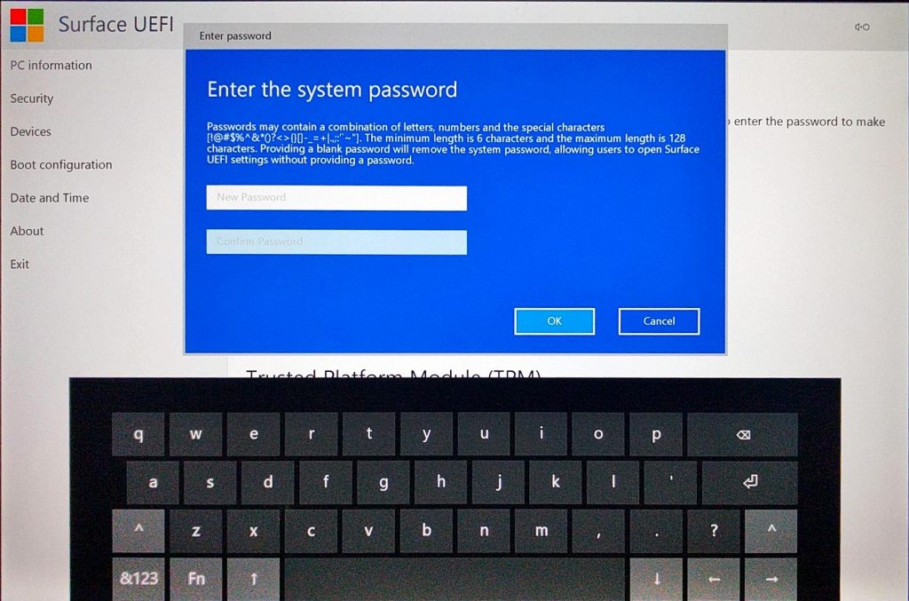 Surface Pro (2017) UEFI > Add Password