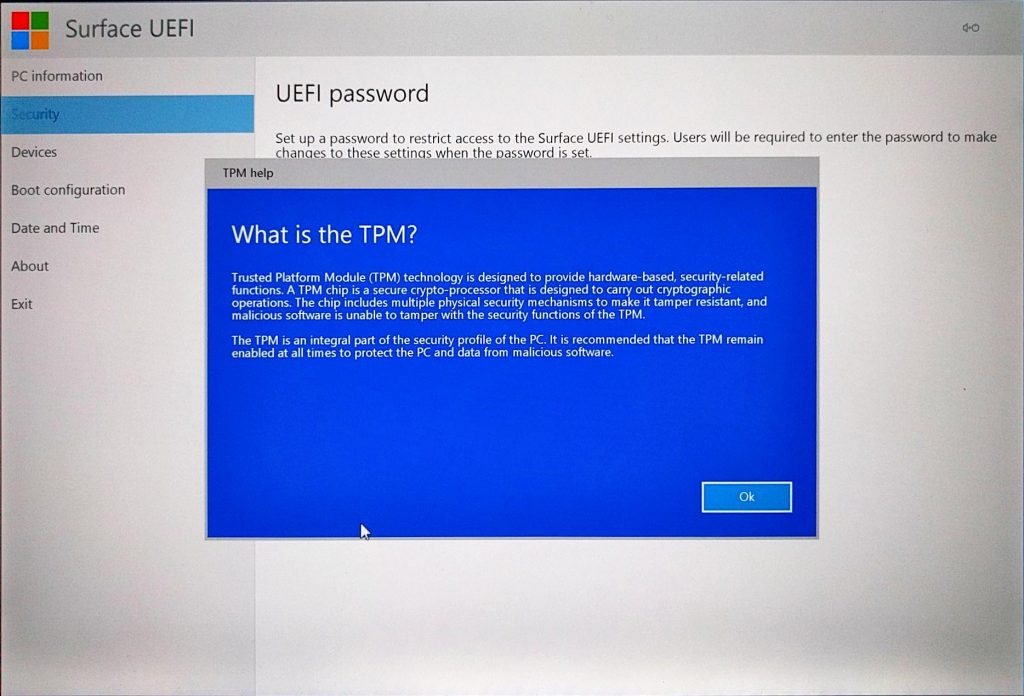 Surface Pro (2017) UEFI > What is TPM?