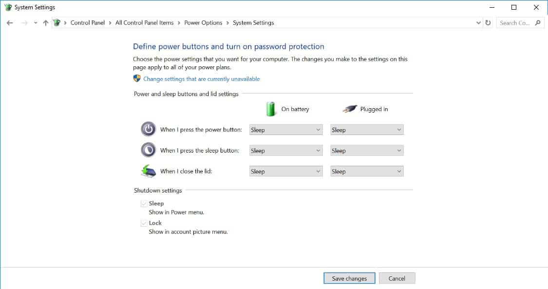 Default Surface System Power Settings