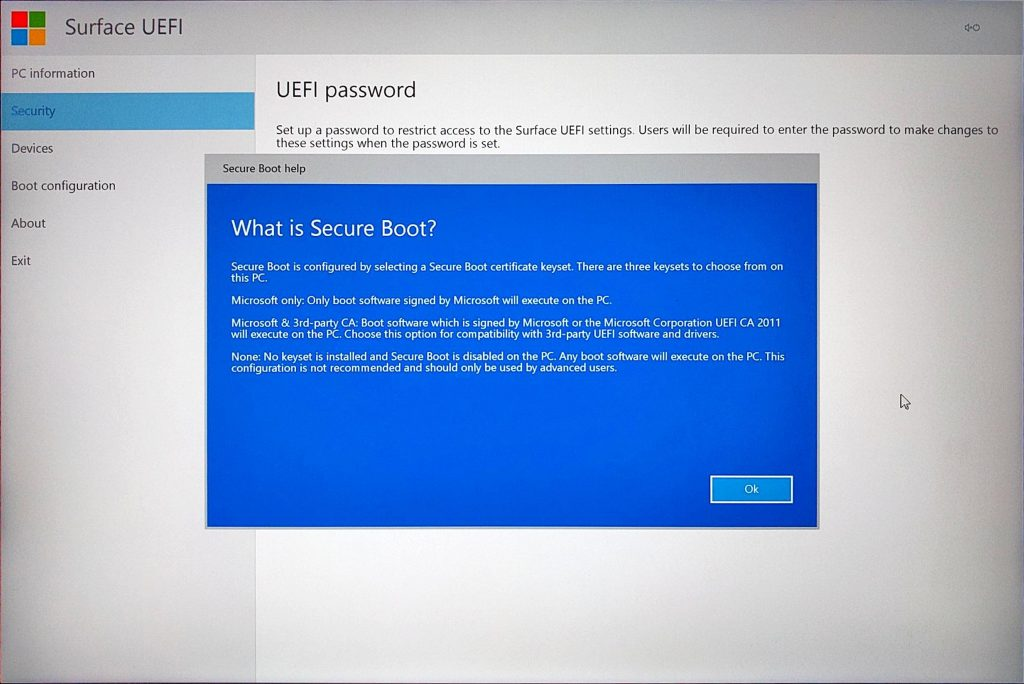 Surface Book UEFI > What is Secure Boot?