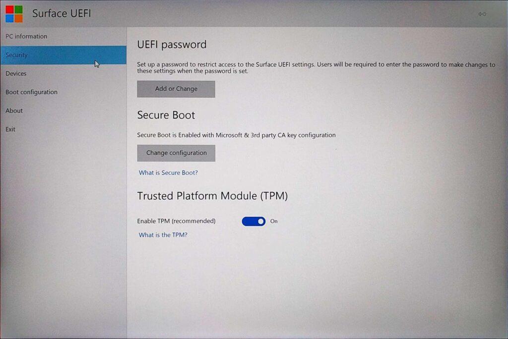 Surface Book UEFI > Security