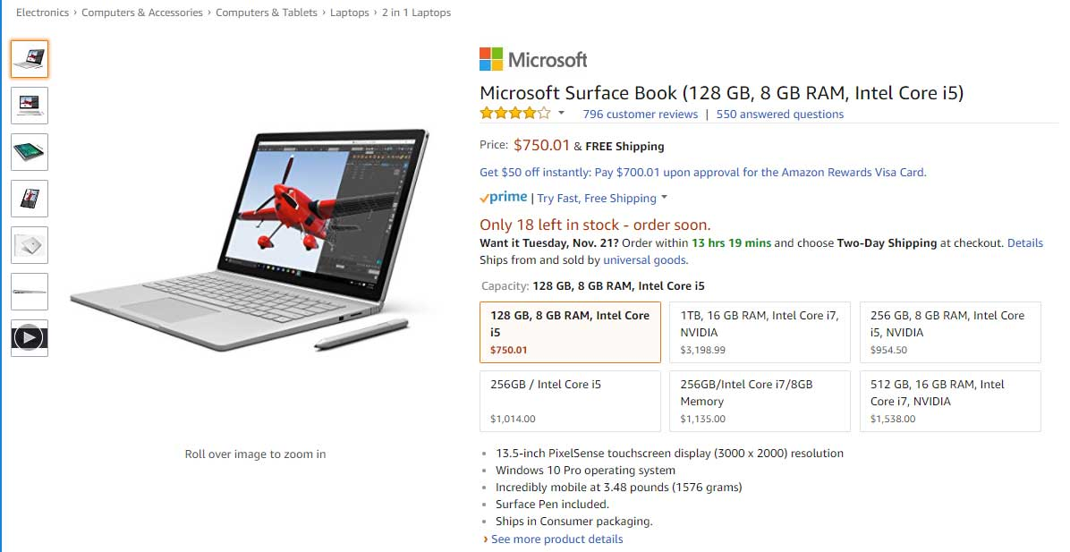 Surface Book Entry Level Model Price for $750