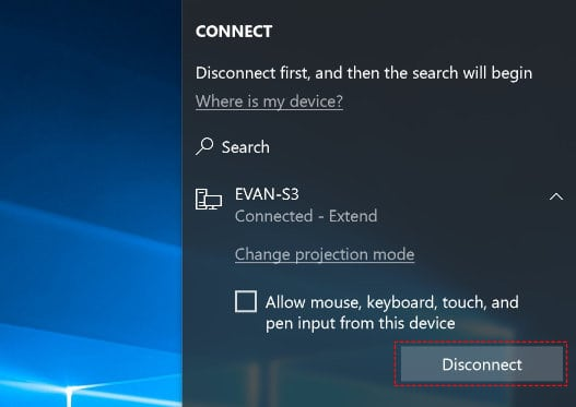 Disconnect the Wireless Display