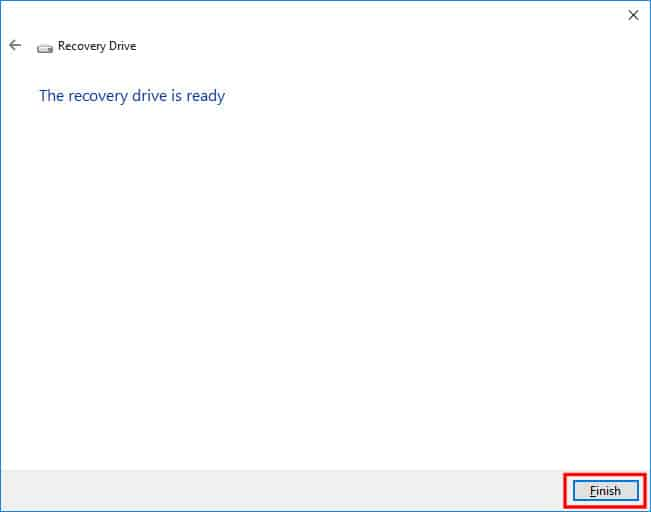 Finish Creating a Recovery Drive