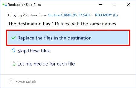 Replace Destination Files