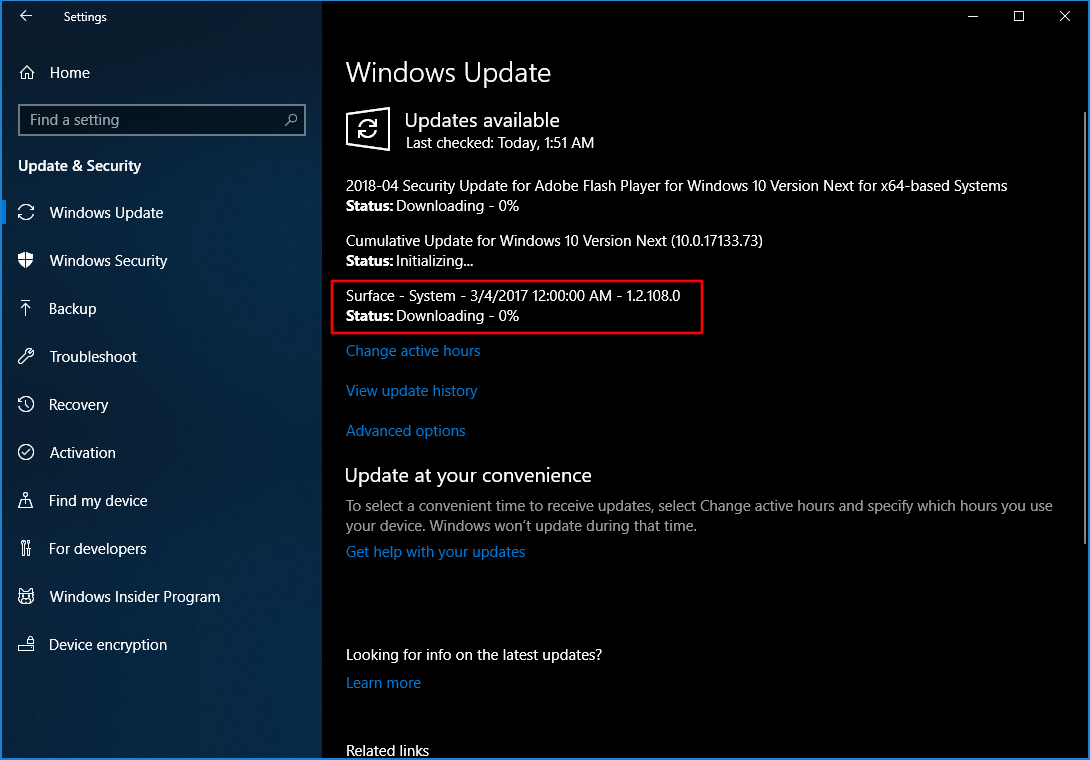 Surface Firmware Update for Surface Book March 2018