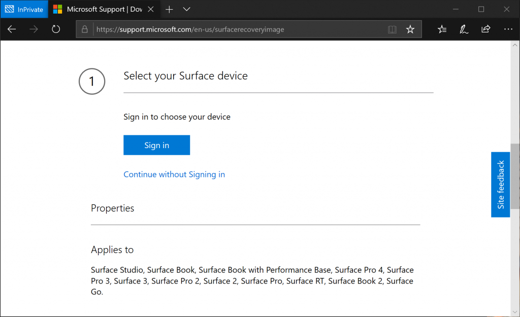 2 Options to download Surface Recovery Image