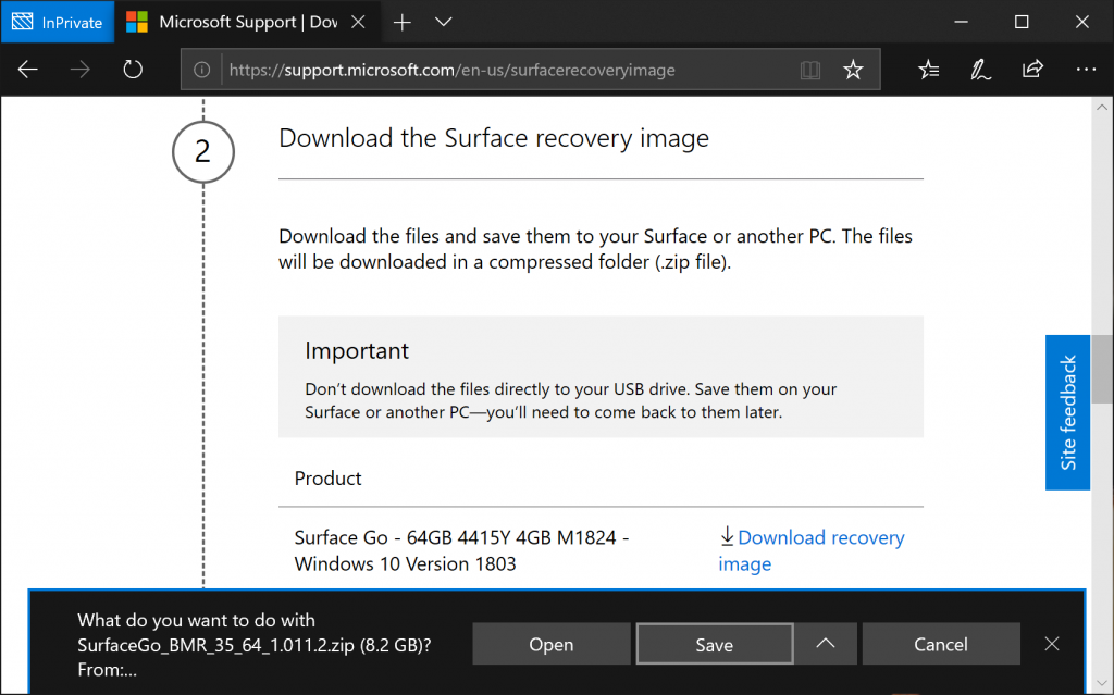 Download Surface Recvoery Image - Save