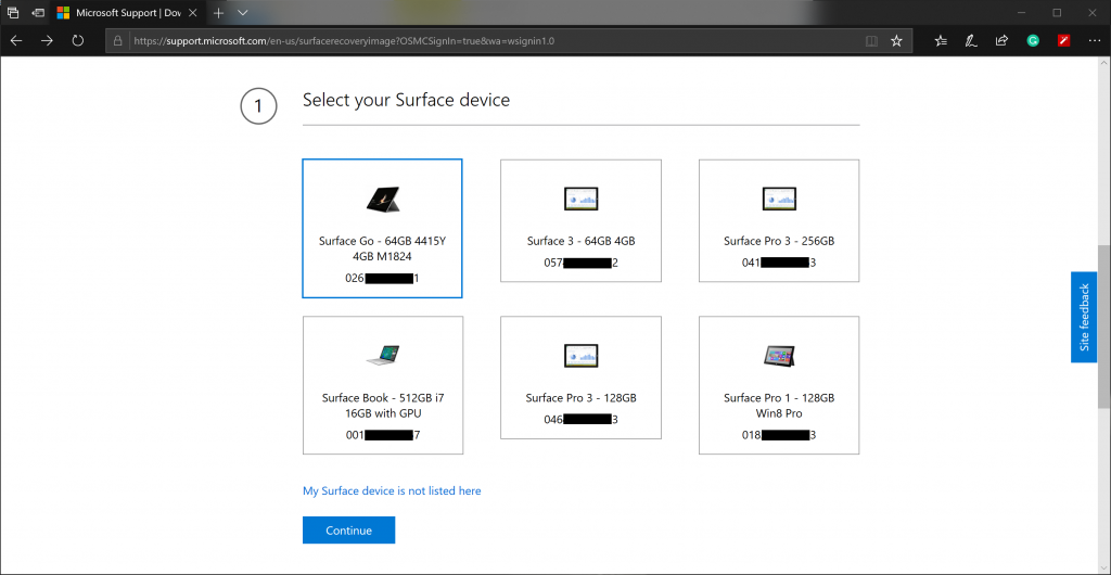 Choose Surface Devices from the logged in account