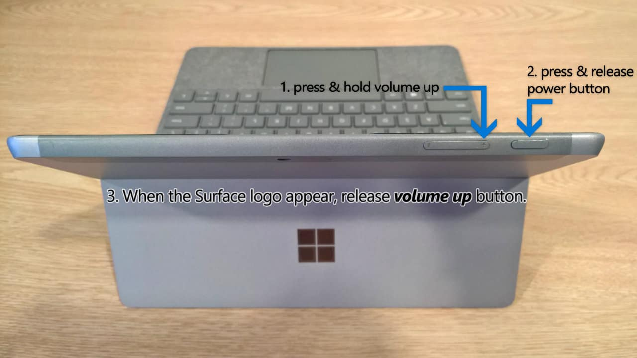 Surface Go - Entering UEFI Settings