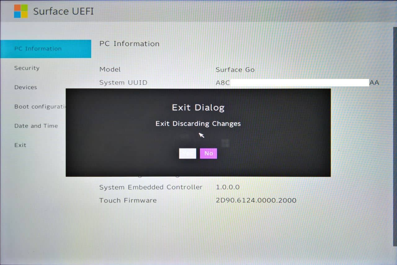 Surface Go UEFI - Exit Discarding Changes