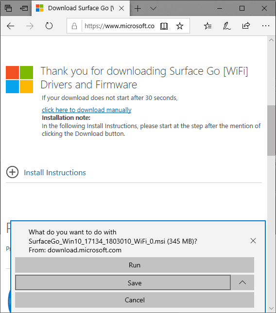 Confirm Surface Go Download