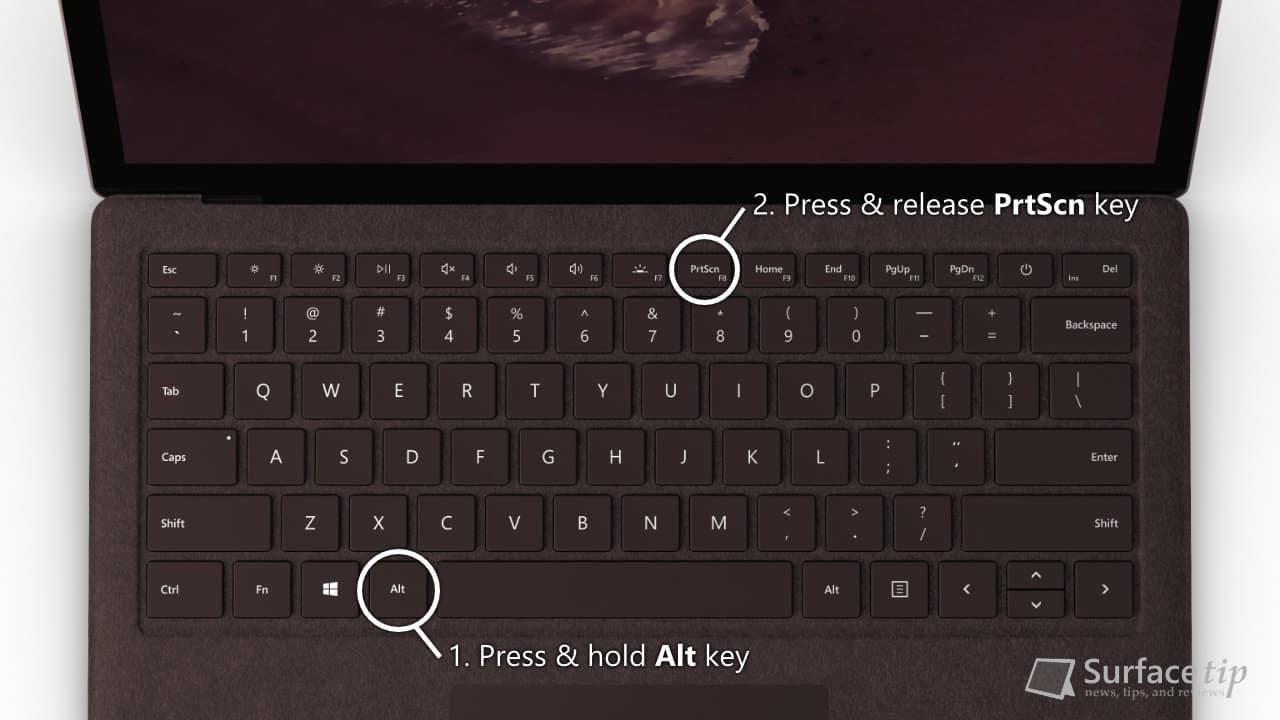 Surface Laptop 2 - Print Screen with Alt + PrtScn key