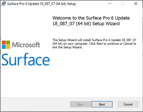 Surface Pro 6 Drivers and Firmware Setup - Start