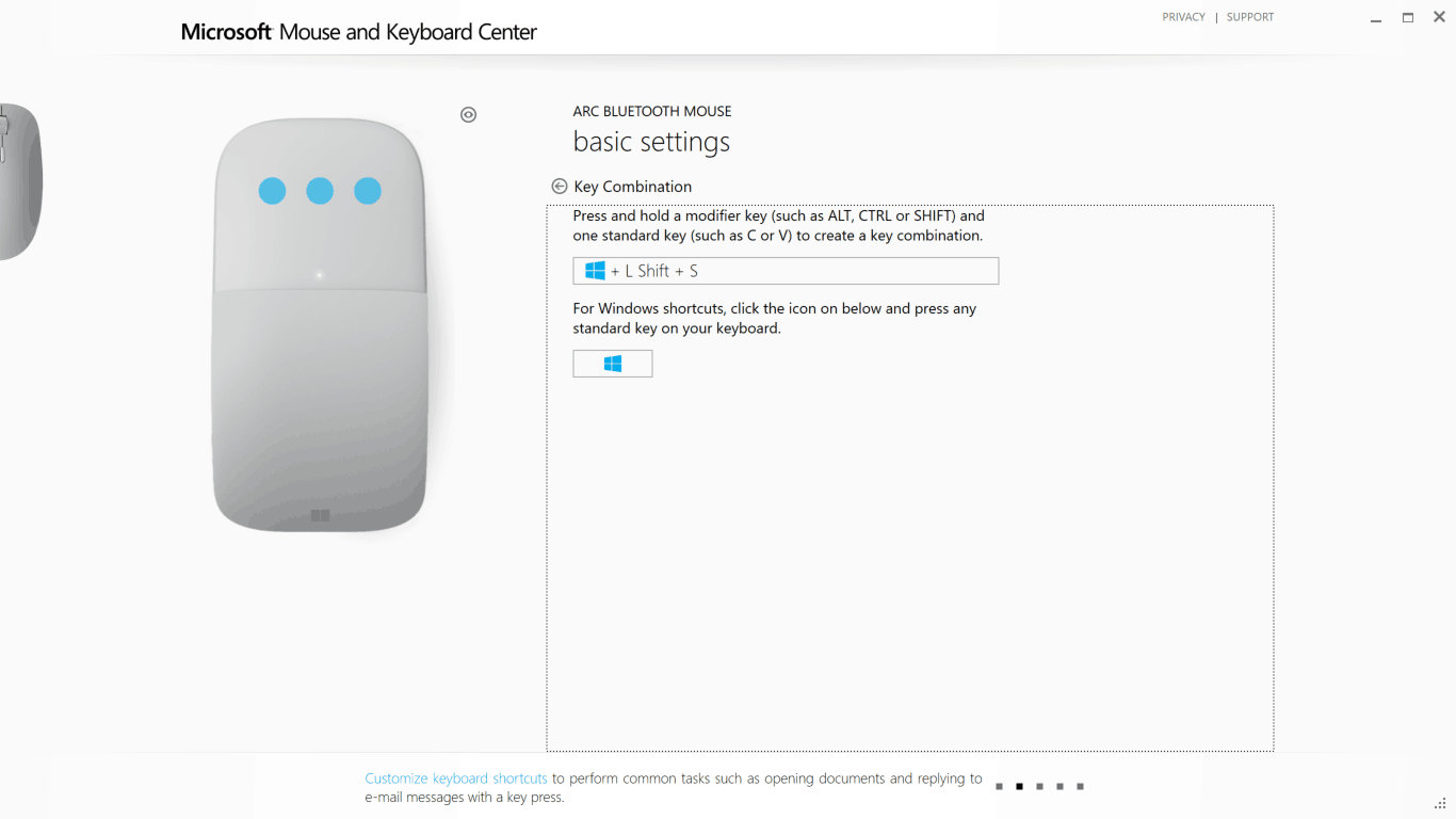 Configuring Surface Arc Mouse - Three finger click