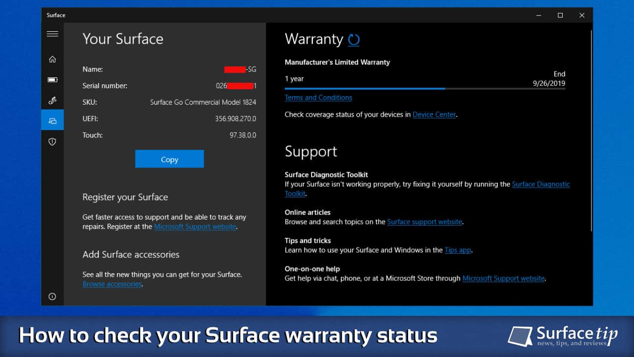 Open Your Surface Warranty Status in the Surface app