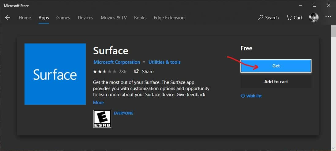 Download and install Surface app in Microsoft Store