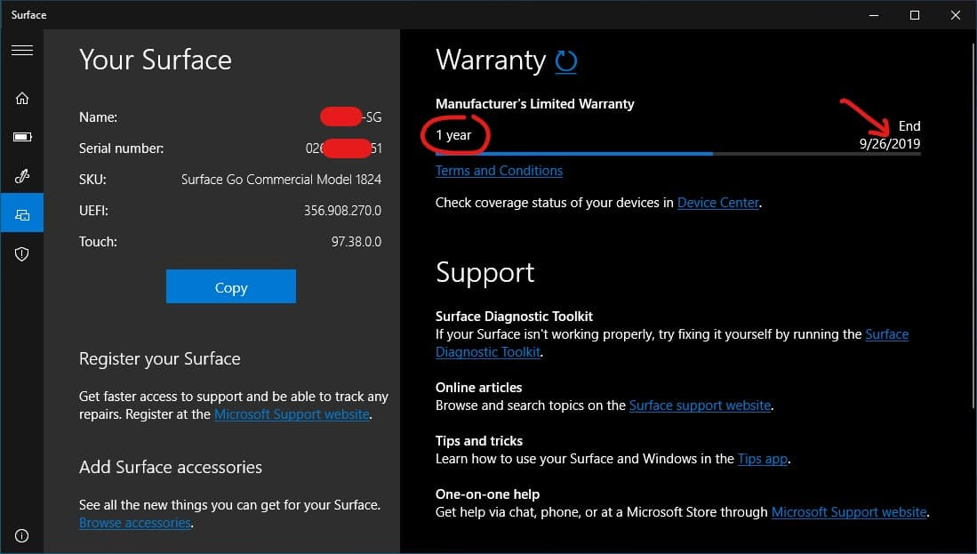 Warranty Status in Surface App