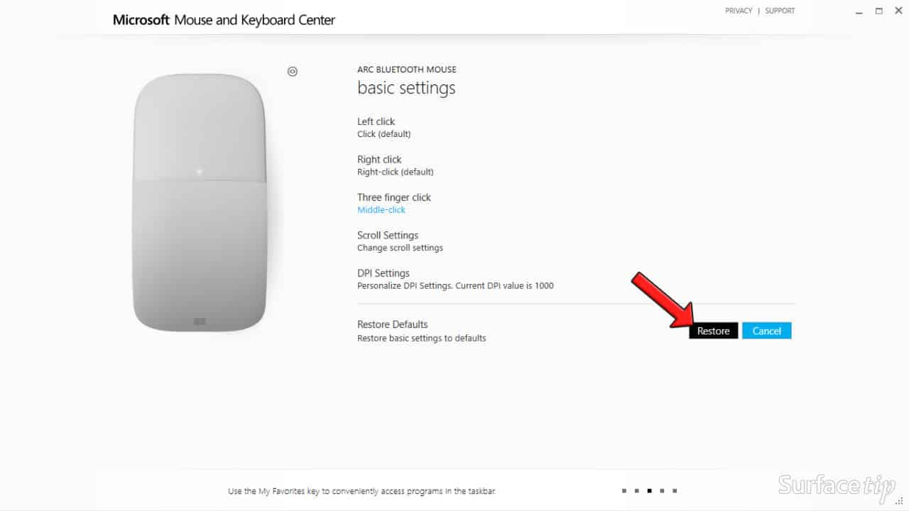 Configuring Surface Arc Mouse - Restore Default Confirm