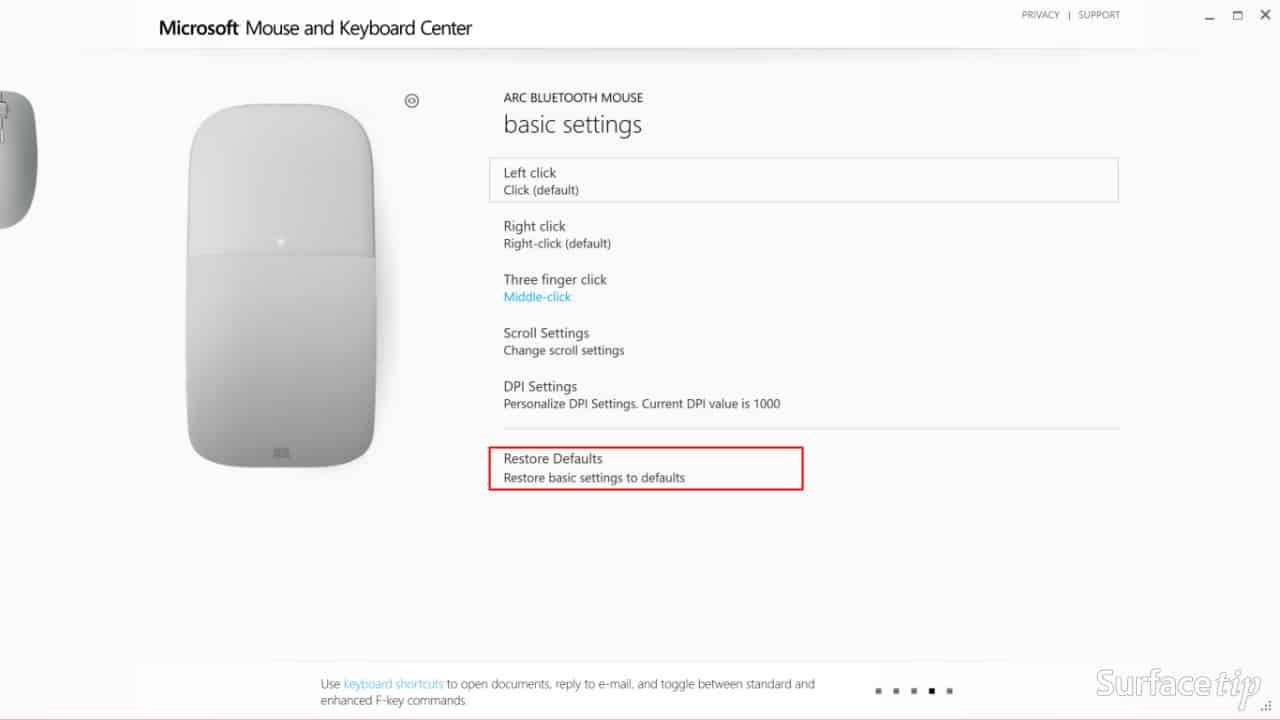 Configuring Surface Arc Mouse - Restore Default